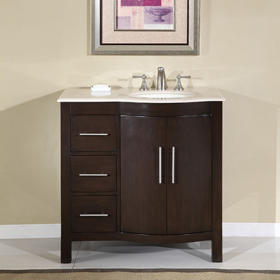 36 inch modern single sink bathroom vanity with cream for Bathroom cabinets 36