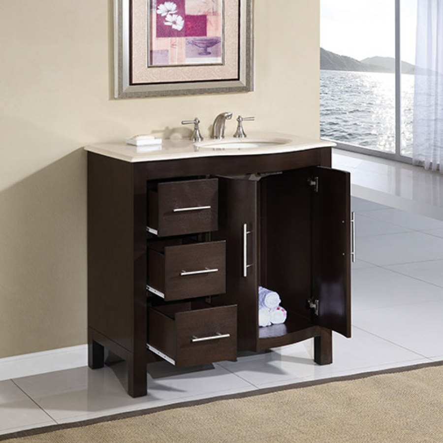 Inch Modern Single Sink Bathroom Vanity With Cream Marfil