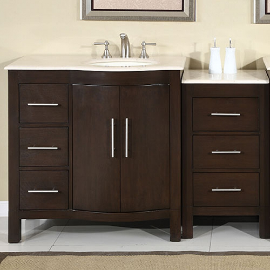 Modern Single Sink Vanity : Home > 53.5 Inch Modern Single Bathroom Vanity with Espresso Finish