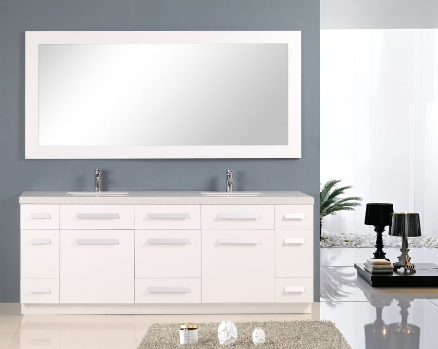 84 Inch Double Sink Bathroom Vanity With Quartz Top Uvdej84dsw84