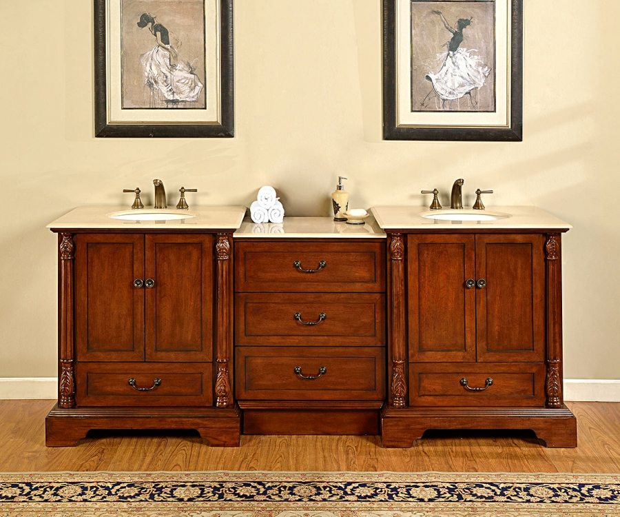 87 Inch Double Sink Bathroom Vanity With Middle Cabinet Of Drawers