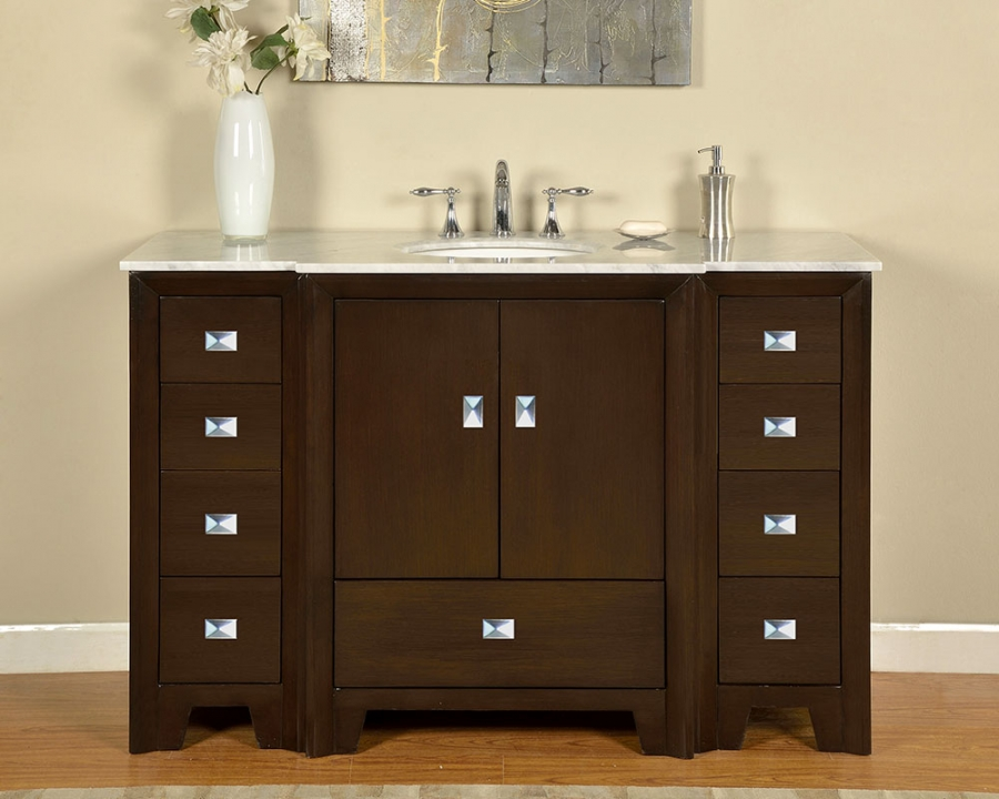 55 inch single sink bathroom vanity in dark walnut uvsr0271wm55. Black Bedroom Furniture Sets. Home Design Ideas