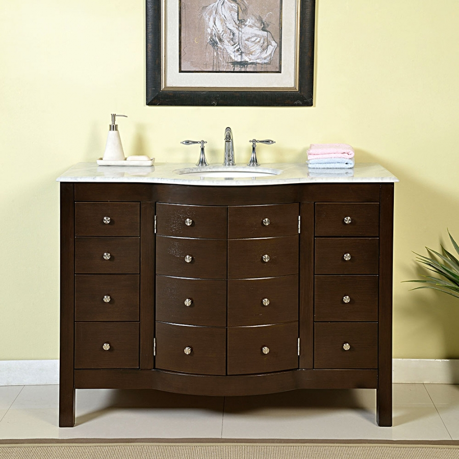 48 Inch Single Sink Bathroom Vanity In Dark Walnut