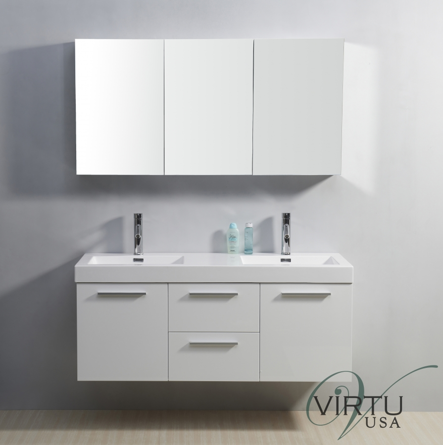 54 inch double sink bathroom vanity in gloss white for Double basin bathroom sinks