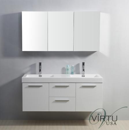 54 inch double sink bathroom vanity in gloss white uvvu50154gw54. Black Bedroom Furniture Sets. Home Design Ideas