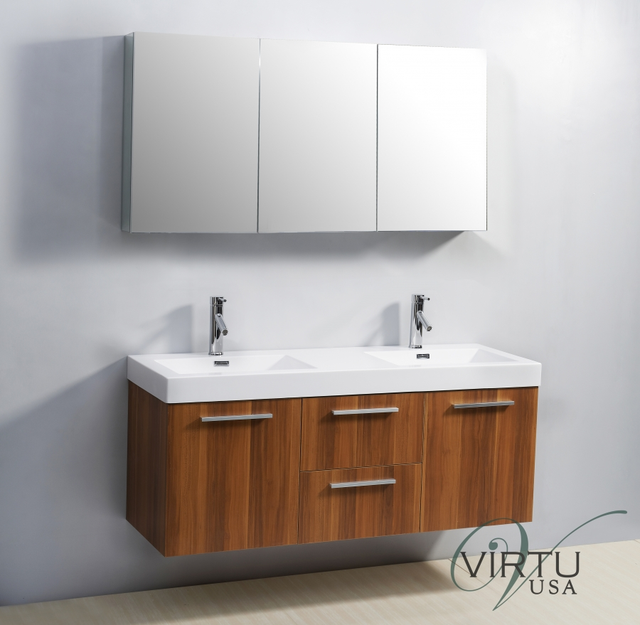 54 Inch Small Wall Mounted Double Sink Bathroom Vanity
