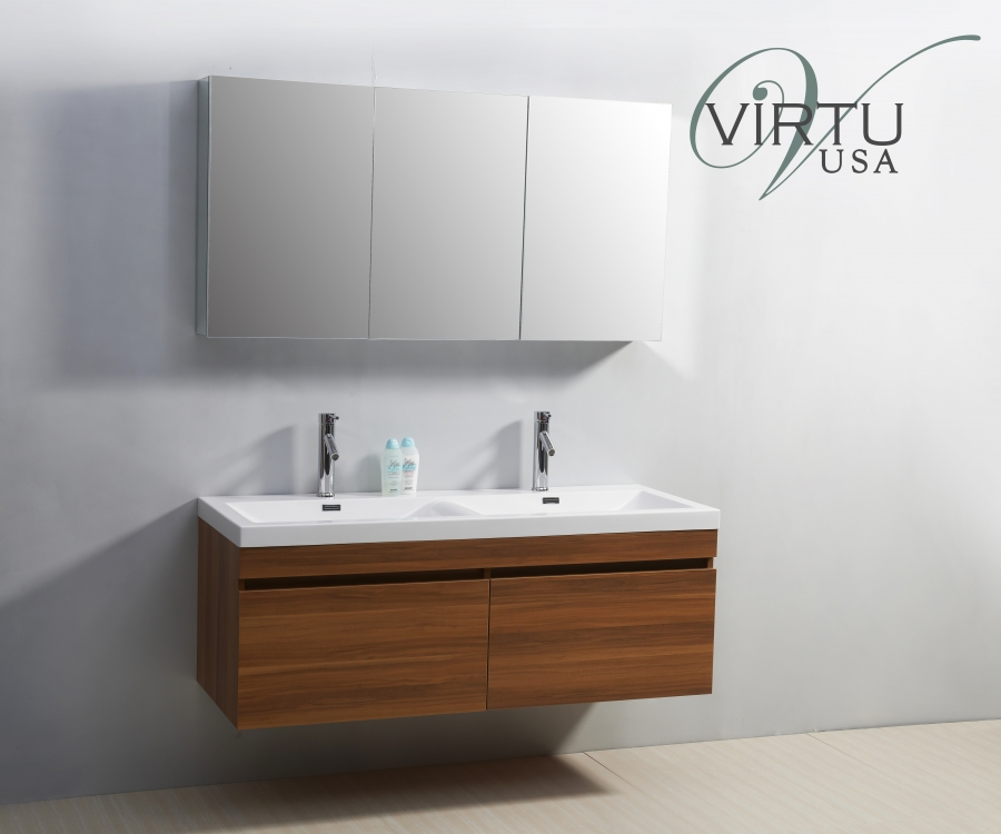 Unique 72 Inch Modern Double Vessel Sink Bathroom Vanity With Tempered Glass