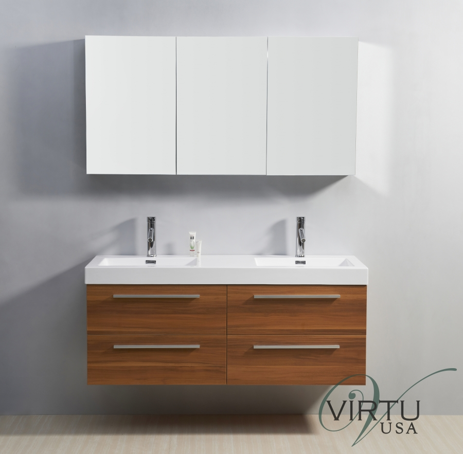 54 Inch Double Sink Bathroom Vanity Soft Closing Drawers
