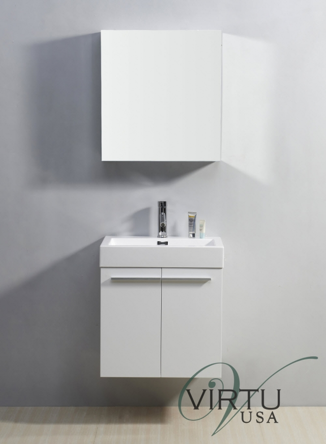 24 Inch Single Sink Bathroom Vanity In Gloss White