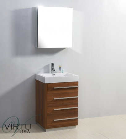 24 Inch Single Sink Bathroom Vanity With Four Drawers