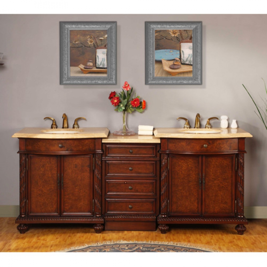 84 Inch Led Lighted Double Sink Vanity With Travertine