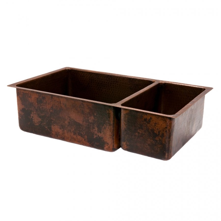 33 Inch Hammered Copper Double Kitchen Sink Uvpcpk75db33199