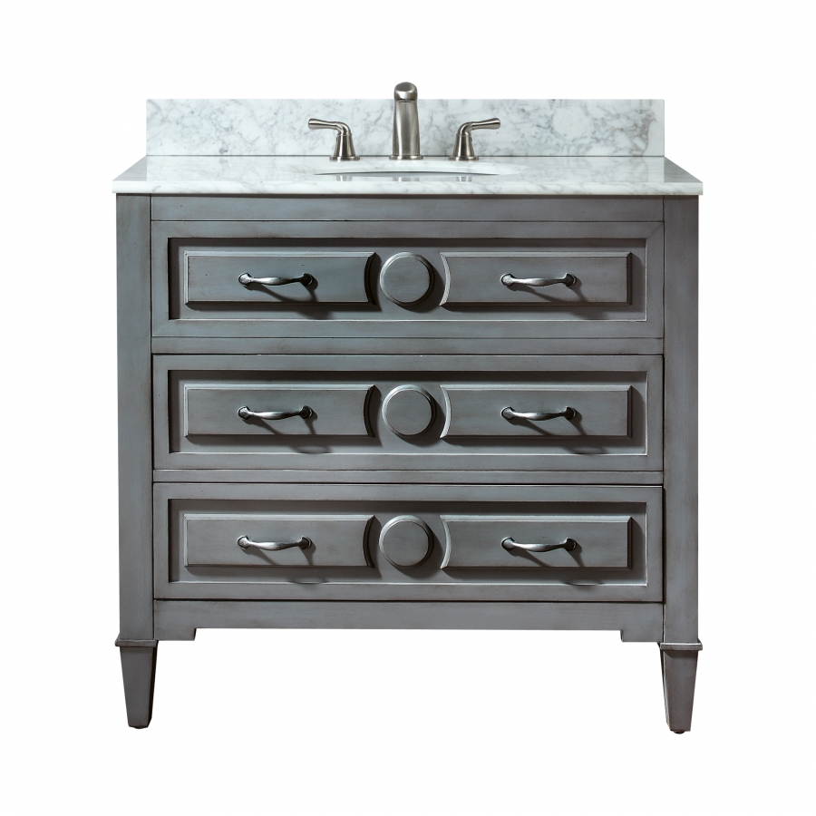 36 Inch Single Sink Bathroom Vanity In A Distressed Blue Finish Uvackellyv36gb36