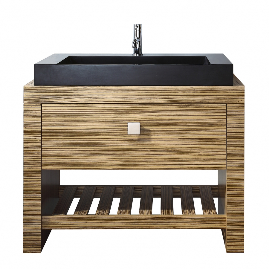 39 inch single sink bathroom vanity with stone vessel sink
