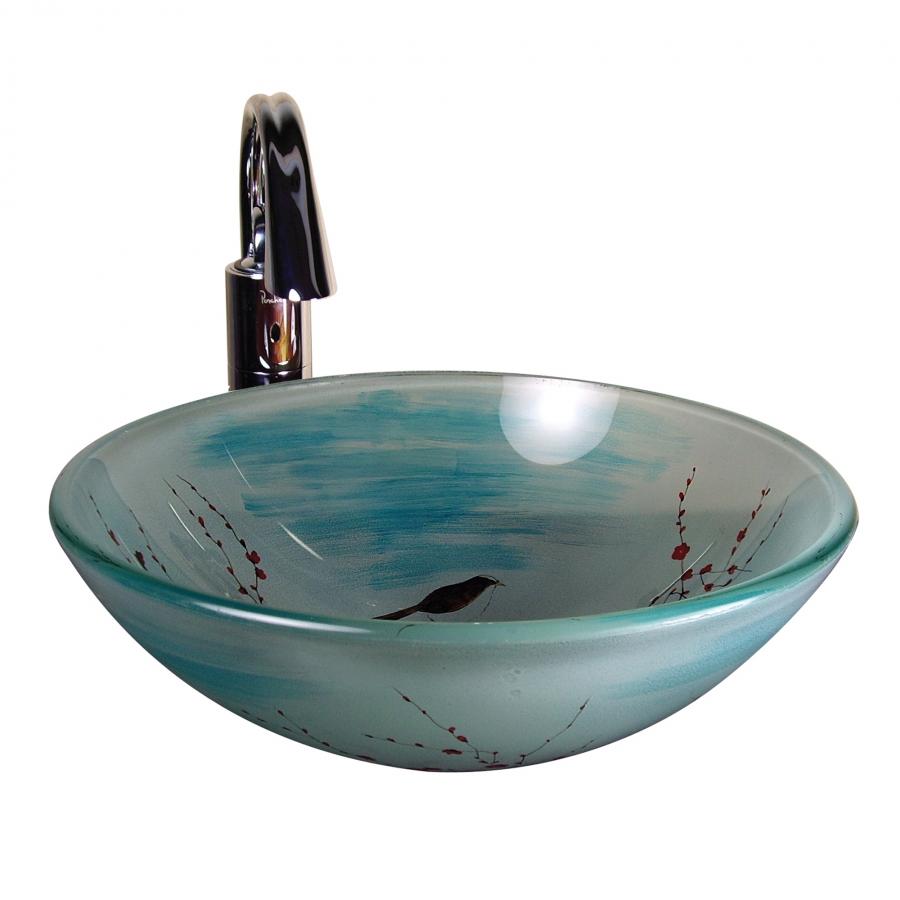 Cherry Blossom Round Glass Vessel Sink Uvyhdkatie