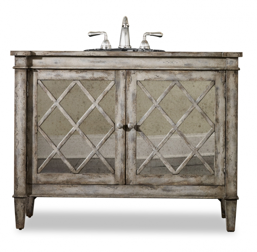 44 Inch Antiqued Single Sink Bath Vanity with Mirror ...