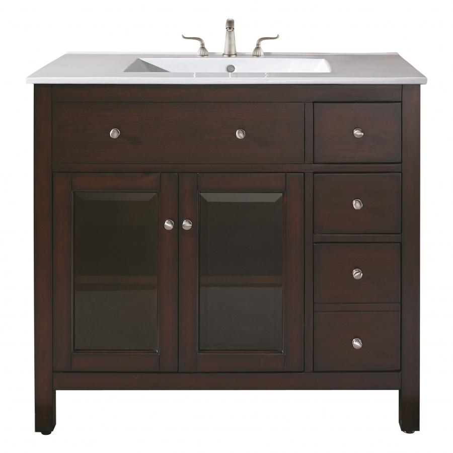 36 Inch Single Sink Bathroom Vanity With Ceramic Countertop And Integrated Si