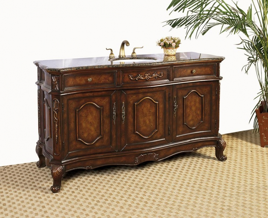 60 Inch Single Sink Bathroom Vanity With Chestnut Brown Finish Uvlf1260