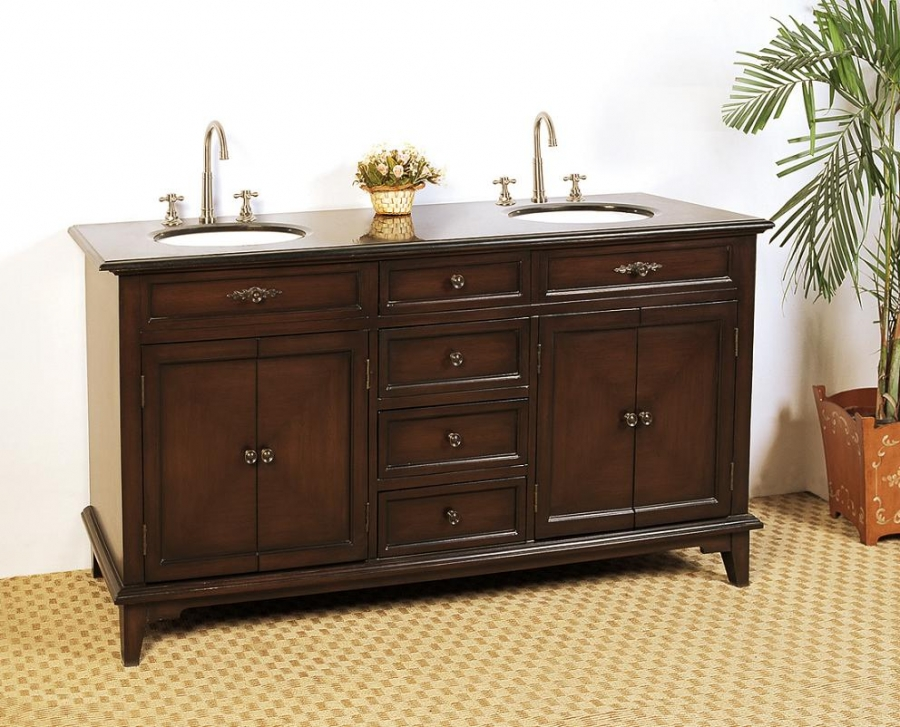 68 5 Inch Double Sink Bathroom Vanity With Deep Chestnut Finish Uvlf4468