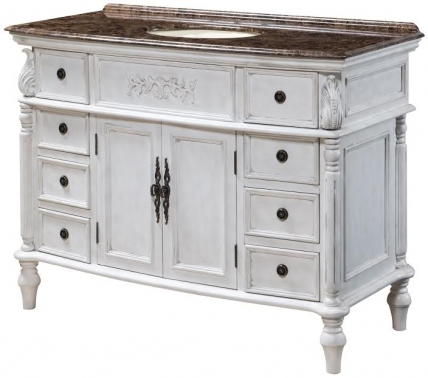 48 Inch Furniture Style Bath Vanity In Distressed White
