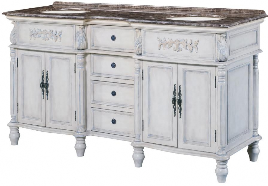 67 Inch Double Sink Bathroom Vanity in Distressed Off White