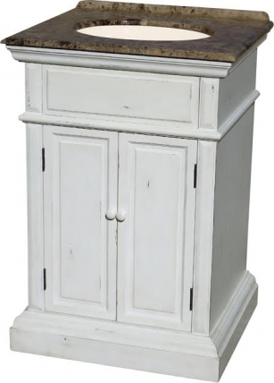 25 inch single sink bathroom vanity in distressed off white. Black Bedroom Furniture Sets. Home Design Ideas