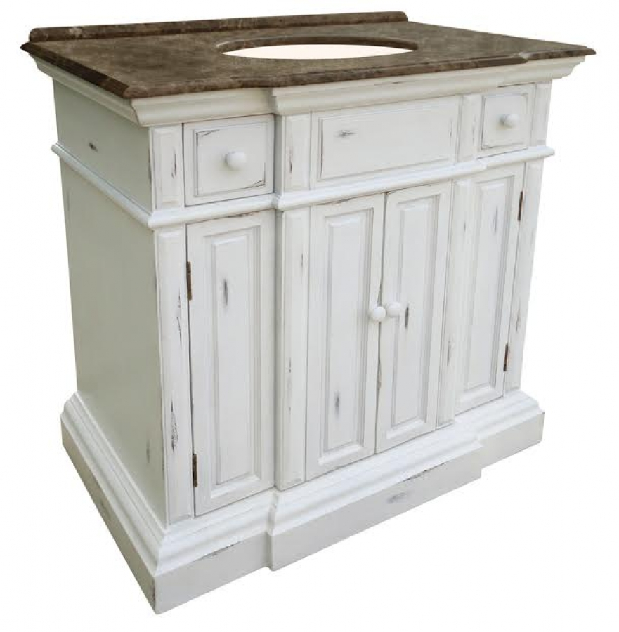 home 36 inch single sink bathroom vanity with an off white finish
