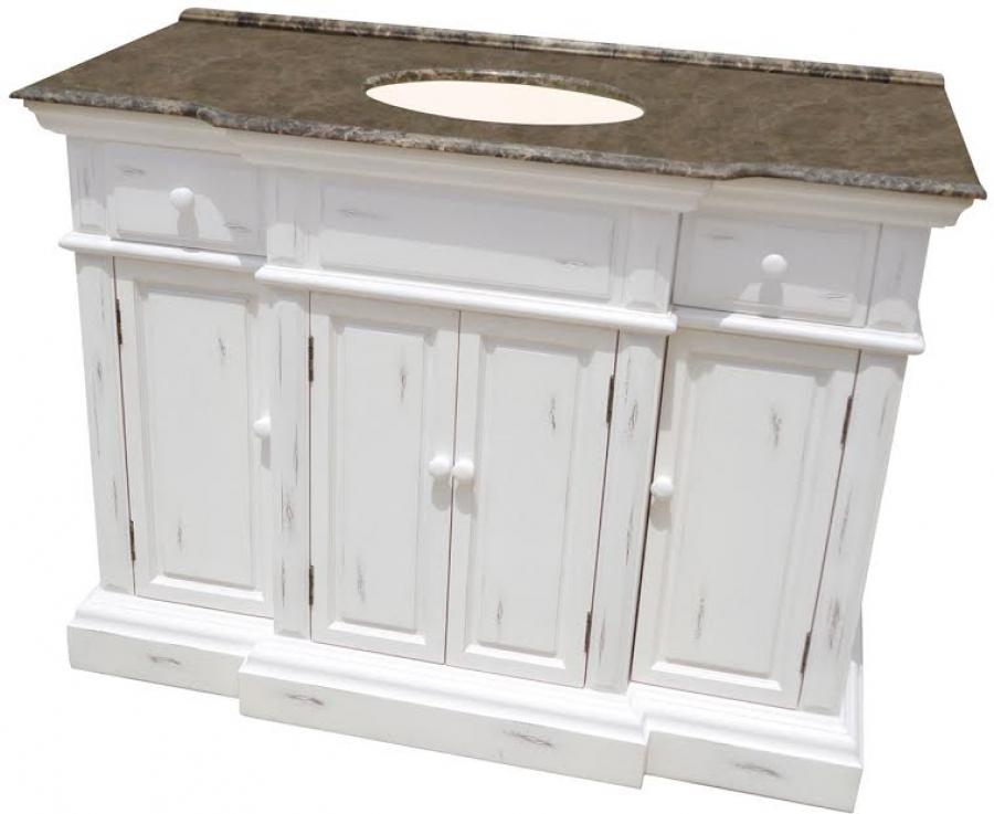 48 Inch Large Single Bathroom Vanity In Distressed White