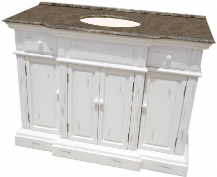 48 Inch Large Single Bathroom Vanity In Distressed White