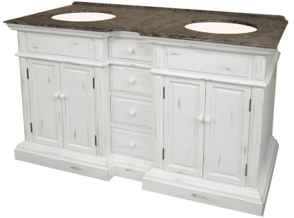 58 Inch Double Sink Bathroom Vanity with an Off White ...