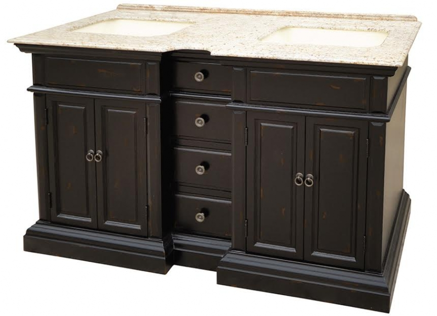 58 Inch Double Sink Bathroom Vanity With A Distressed Black Finish Uvlklk2758