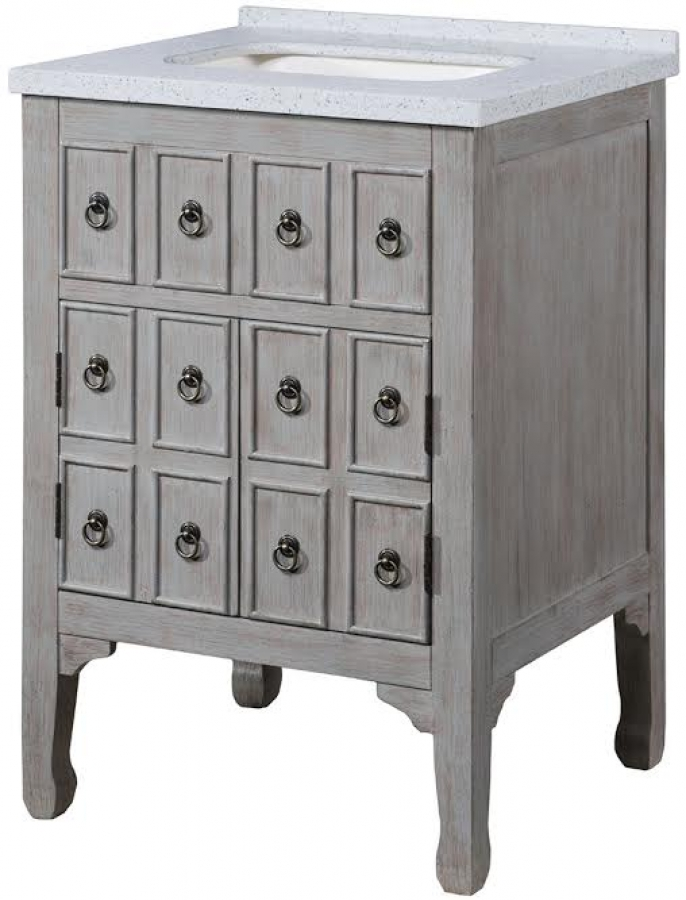 24 Inch Single Sink Bathroom Vanity With A Distressed Gray Finish