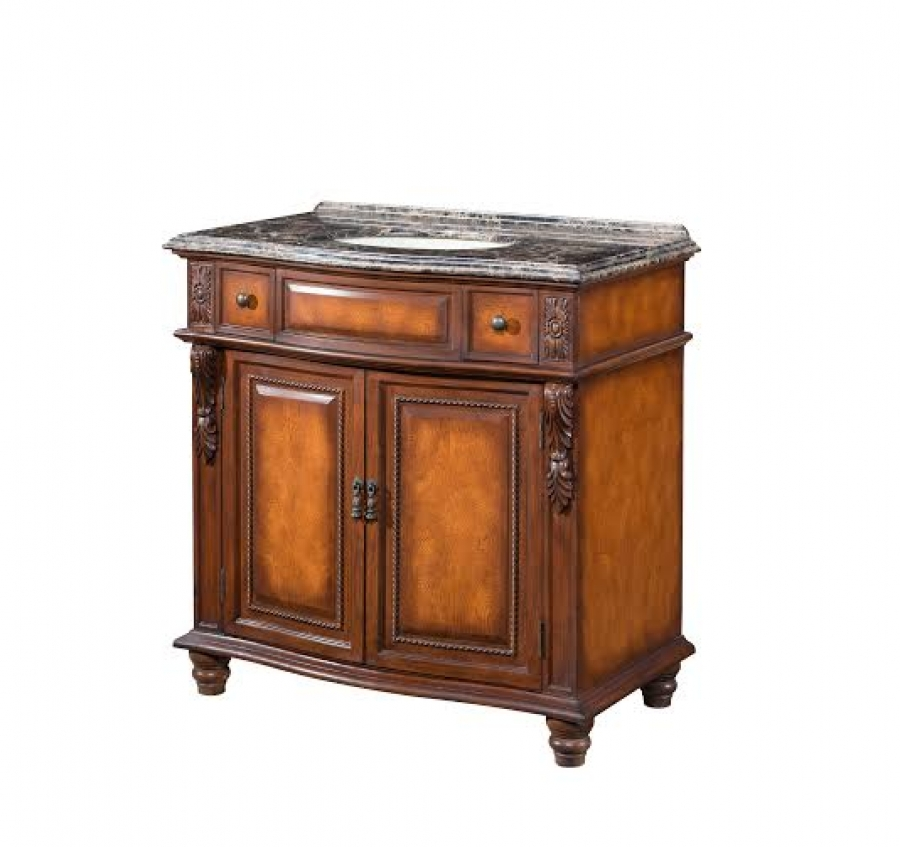 36 Inch Single Sink Bathroom Vanity With A Burl Wood Finish Uvlklk2936