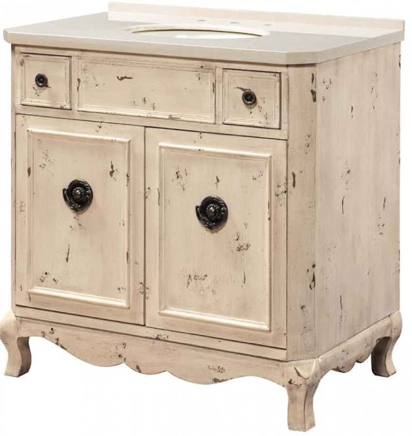 36 Inch Furniture Style Distressed Rustic Bath Vanity