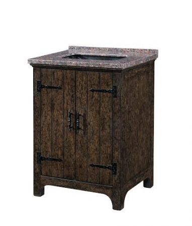 28 Inch Single Sink Bathroom Vanity With A Dark Distressed