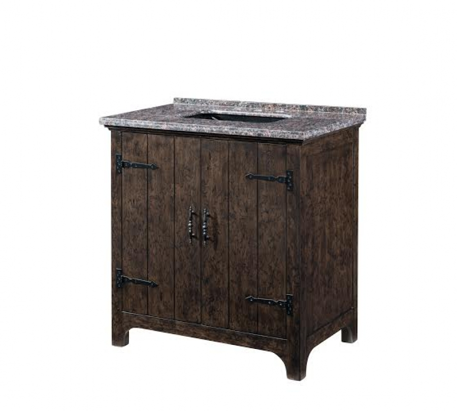 36 inch single sink bathroom vanity with a dark distressed wood finish