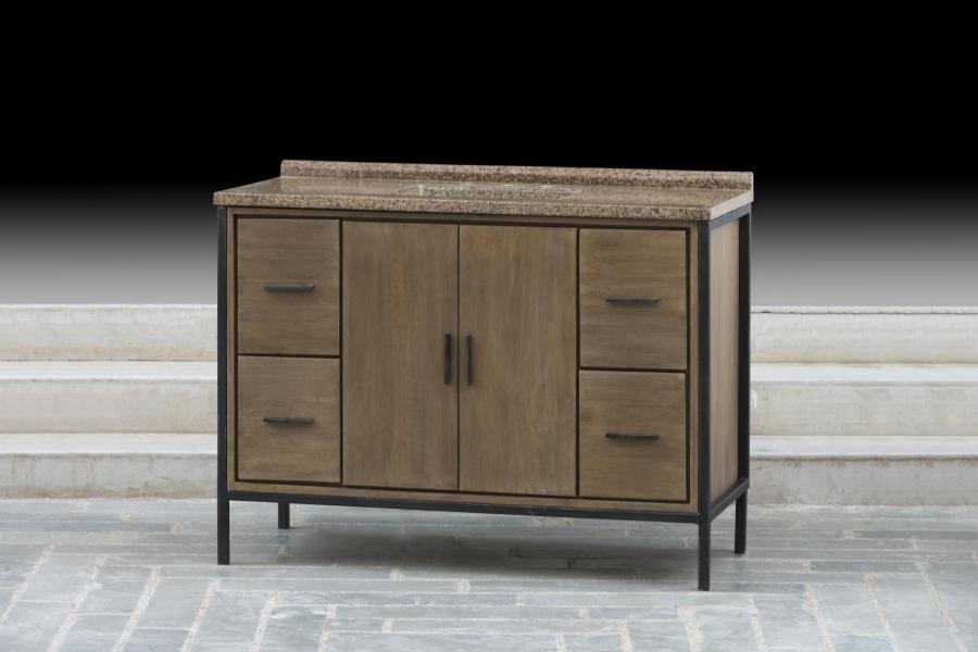 48 Inch Single Sink Bathroom Vanity With A Rustic Wood