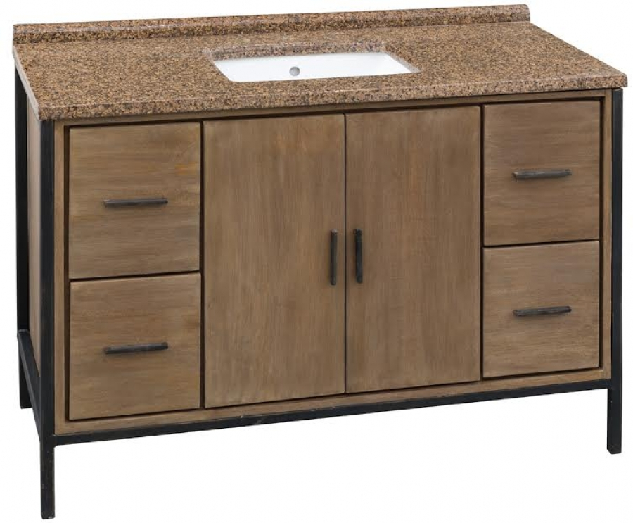 48 Inch Large Single Sink Bathroom Vanity In Natural Finish