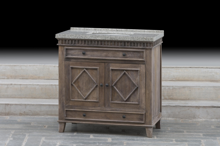 36 Inch Single Sink Bathroom Vanity With A Rustic Wood