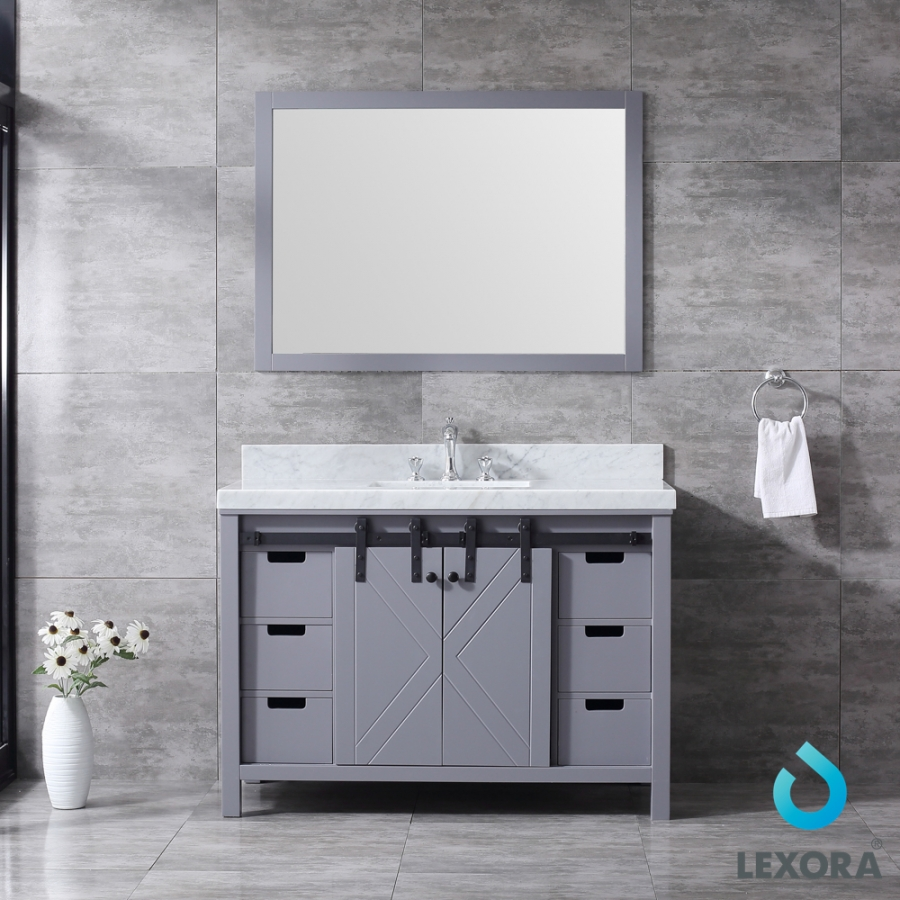 48 Inch Single Sink Bathroom Vanity in Dark Gray with Barn Door Style Doors