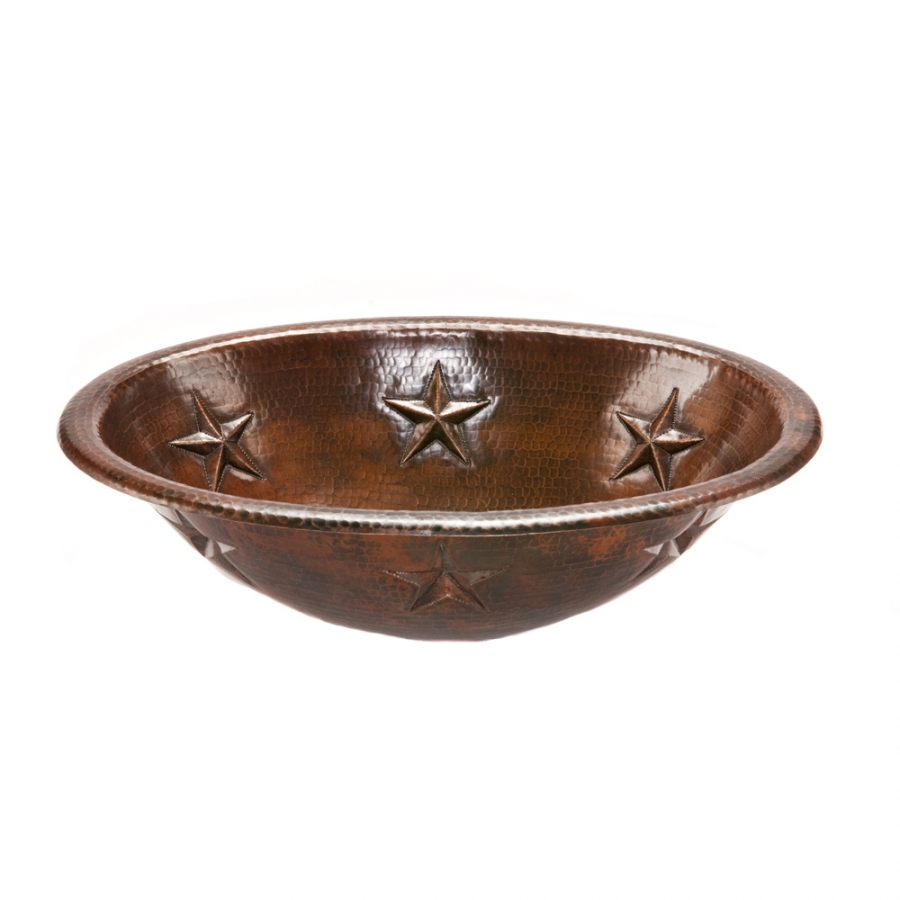 Hammered Copper Sink : Oval Star Self Rimming Hammered Copper Sink UVPCPLO19RSTDB