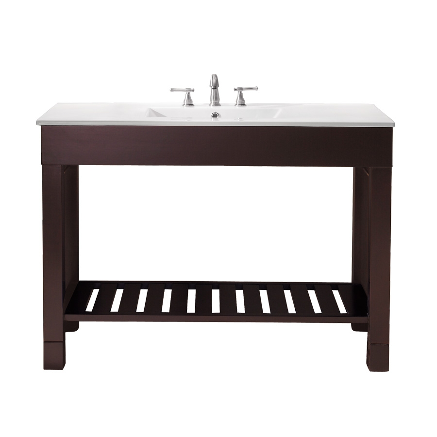 home 49 inch single sink bathroom vanity with dark walnut finish and