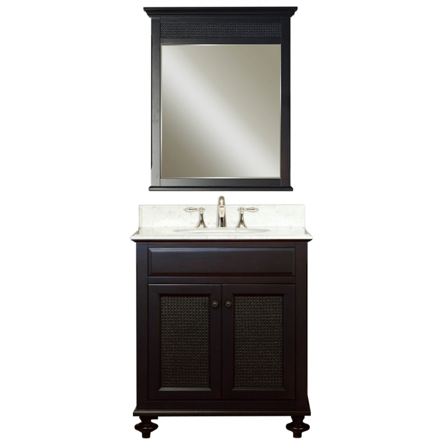 30 Inch Single Sink Vanity With A Dark Espresso Finish And A Carerra White Marble Top Uvwclondon30