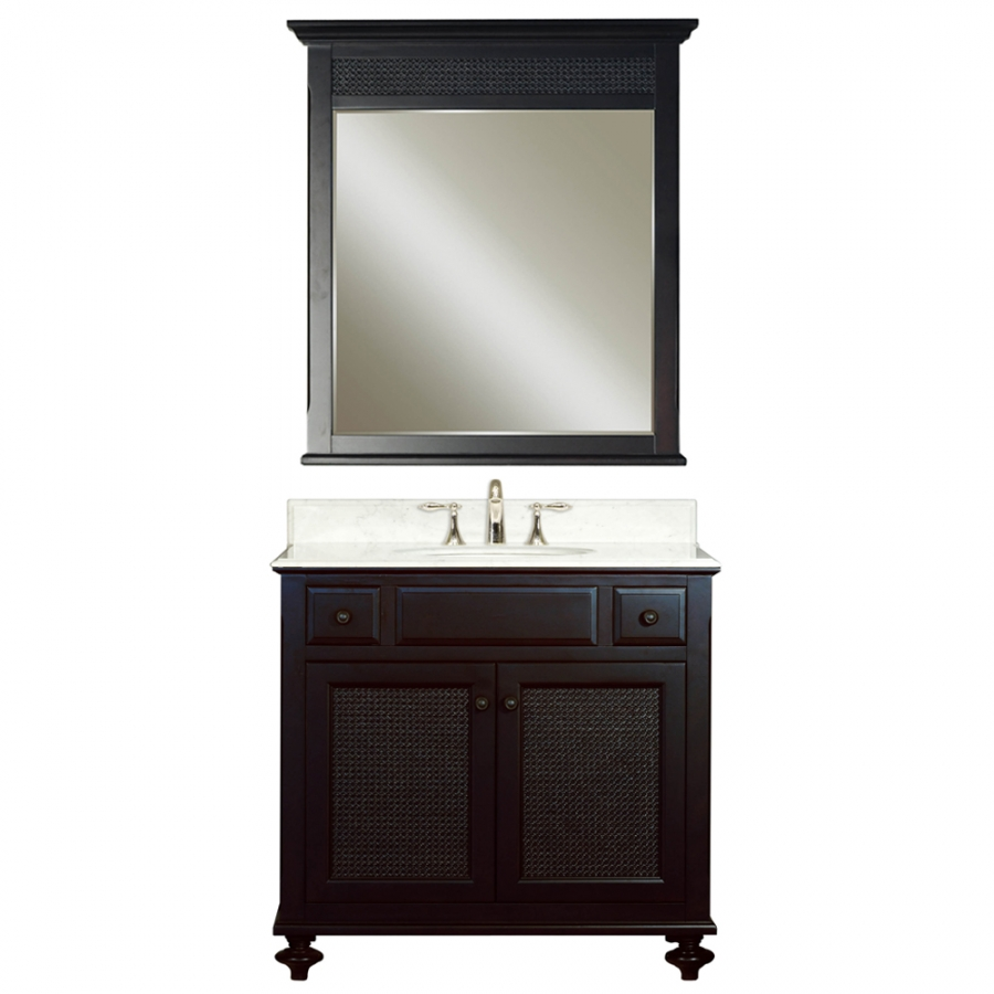 36 inch single sink vanity with a dark espresso finish and a carerra white marble top uvwclondon36 for 36 inch espresso bathroom vanity