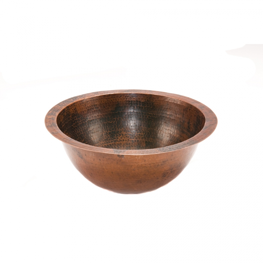 Small Round Under Counter Hammered Copper Sink Uvpcplr14fdb
