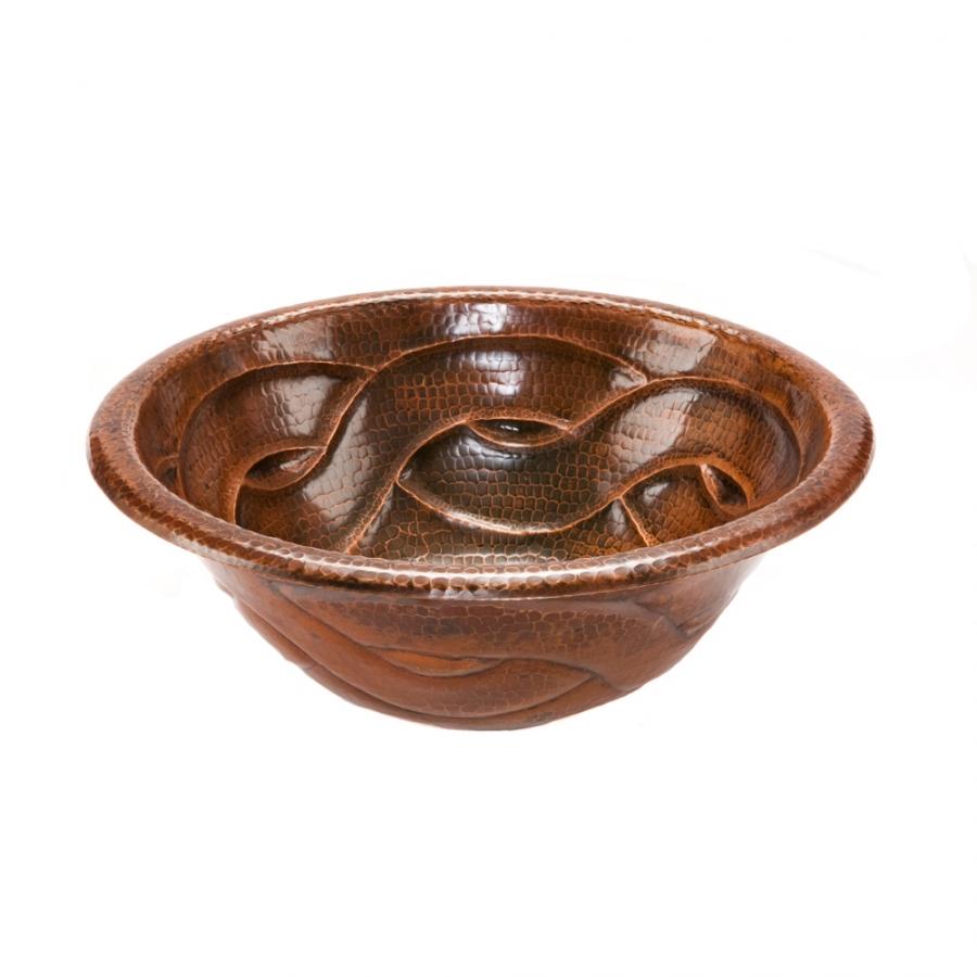 Round Braided Self Rimming Hammered Copper Sink Uvpcplr17rbddb