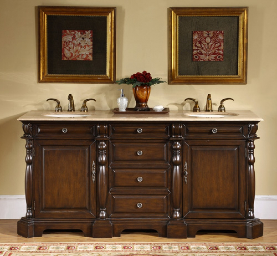 72 inch double sink bathroom vanity with travertine - Bathroom cabinets sinks and vanities ...