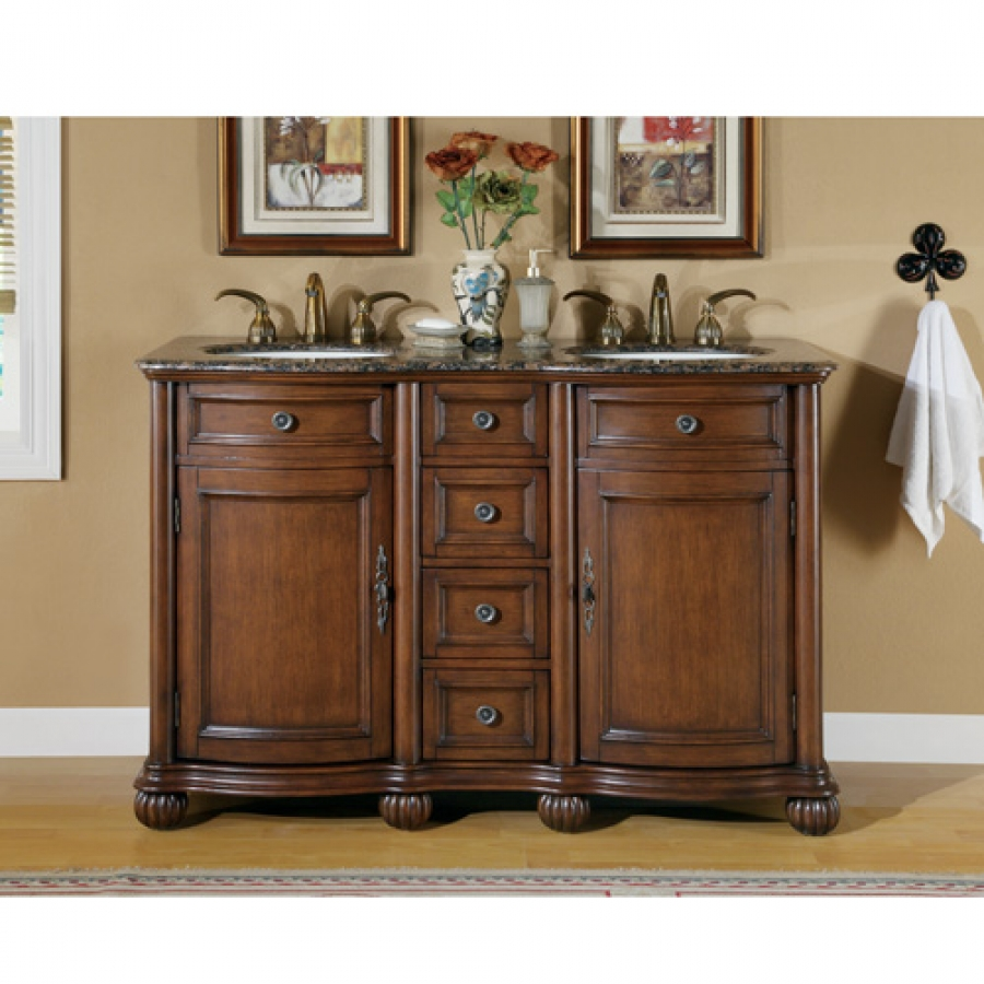 ... Inch Small Double Sink Vanity With Baltic Brown Countertop · Loading  Zoom