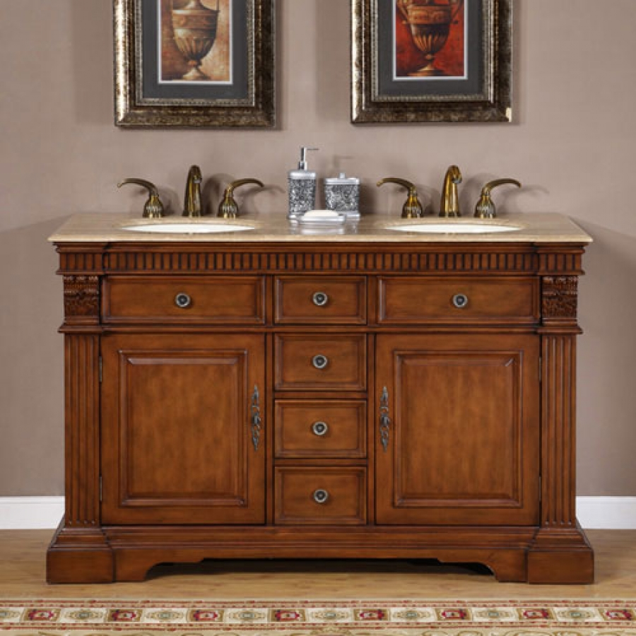 kitchen sink furniture 55 inch furniture style double sink bathroom vanity uvsr018155 7304