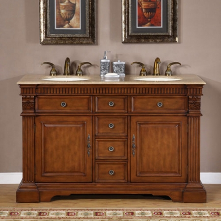 55 Inch Furniture Style Double Sink Bathroom Vanity Uvsr018155